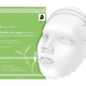 Set de 3 măști hidratante hidro-colagen + ceai verde