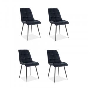 Set de 4 scaune Reidsville, tapitate, negru, 89 x 51 x 44 cm