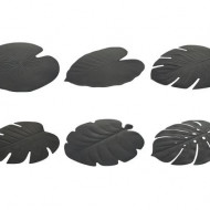 Set de 6 naproane Jungle, negru, 37 x 47 cm