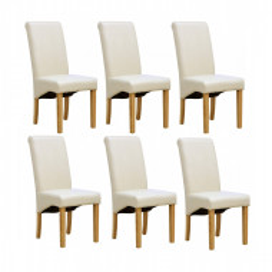 Set de 6 scaune de living Cambridge, piele sintetica, picioare lemn natur, crem