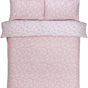 Set de husa de plapuma si 2 fete de perna Ditsy, roz, 200 x 200 cm