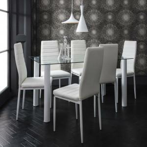 Set de living Gorge masă cu blat de sticlă + 6 scaune din piele sintetică, alb