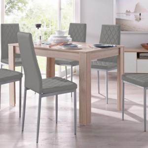 Set de living Lynn/Brooke - 4 scaune si o masa - gri/natur- 120/80/75