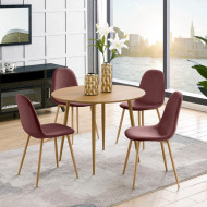 Set de living Monza Eadwine - 5 piese ( 4 scaune si o masa rotunda),catifea, roz prafuit