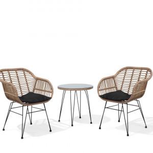 Set de masuta si 2 scaune TROPEA, metal/ratan, maro