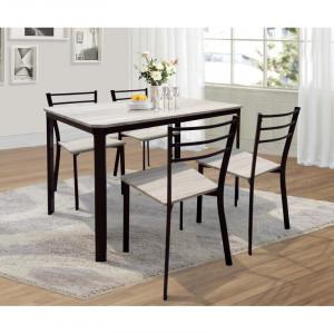 Set de o masa si 4 scaune Leeds, negru/gri