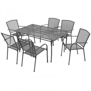Set de o masa si 6 scaune de gradina Tillie, metal, antracit