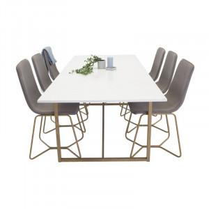 Set de o masa si 6 scaune Helston, alb/bej/gri