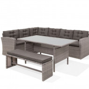 Set lounge Viterbo, ratan, gri, 3 piese (10 perne incluse)