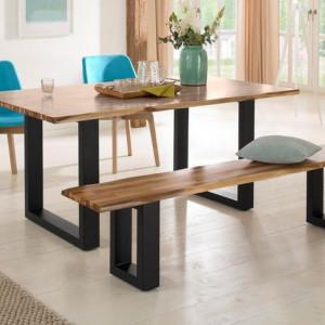 Set masa de living si banca Melody Home Affaire, lemn masiv, 180 cm, maro/negru