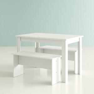 Set masa si 2 banci Romario, lemn, alb