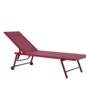 Sezlong reclinabil Portofino, rosu, 198 x 65 x 107 cm