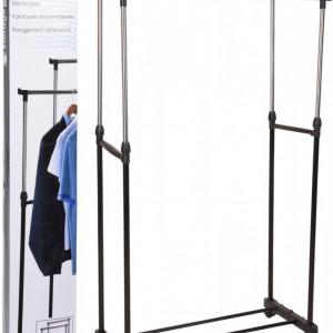 Suport de haine Karll, cu structura metalica, 2 bare, 4 roti, 80 x 42 x 90/160 cm