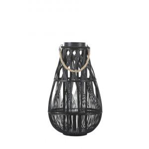 Suport pentru lumanari Tonga, negru, 34 x 34 x 56 cm
