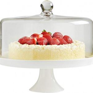 Suport pentru tort/prajituri VonShef, ceramica/sticla, transparent/alb
