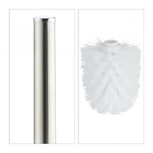 Suport și perie de toaletă, plastic/metal/ceramica, alb, 38,5 x 12,5 cm