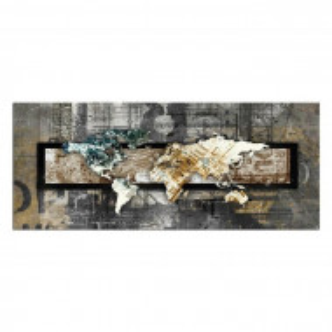 "Tablou ""World Map"", gri/maro/alb, 50 x 100 cm"