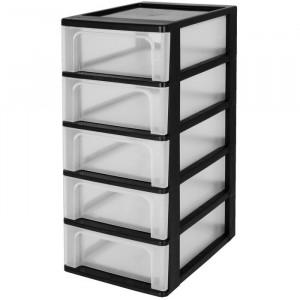 Turn cu 5 spatii de depozitare, polipropilena, transparent, 60,5 x 26 x 35,5 cm