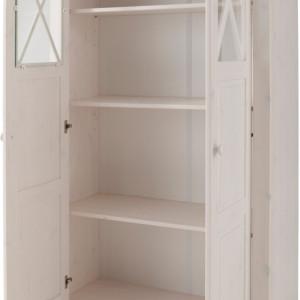 Vitrina Clarissa lemn masiv de pin, alb, 90 x 35 x 160 cm