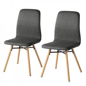 Set 2 scaune Daleras, tesatura si lemn masiv, gri inchis