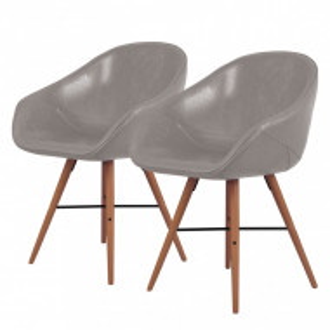 Set de 2 scaune tip fotoliu Restol I, imitatie de piele/lemn masiv de fag, gri