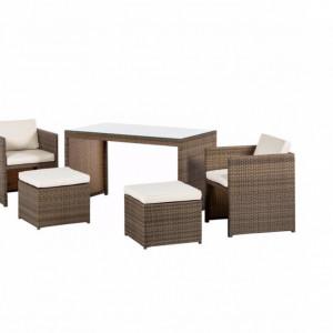 Set de mobilier pentru terasa Merano 11 piese ( 1 masă, 2 fotolii, 2 scaune și 6 perne)