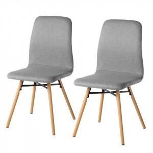Set 2 scaune Daleras, tesatura si lemn masiv, gri