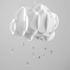 Abajur pandantiv, acril, alb, 65cm H x 43cm W x 50cm D