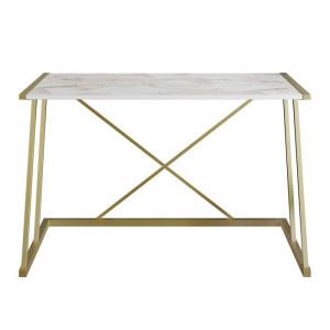 Birou Charie, lemn/metal, alb/auriu, 75 x 120 x 60 cm