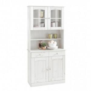 Bufet vitrina Sylt 2 usi, din lemn de pin, alb, 84/28-35/180 cm