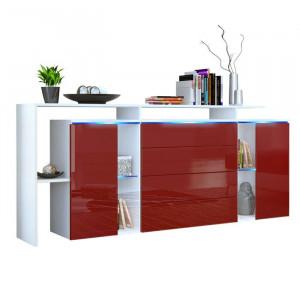 Buffet Lisabona, PAL, alb/rosu, 80 x 185 x 35 cm