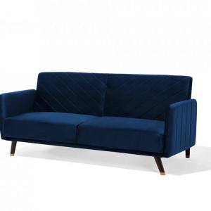 Canapea extensibila Senja, lemn masiv, albastru inchis, 200 x 87 x 95 cm