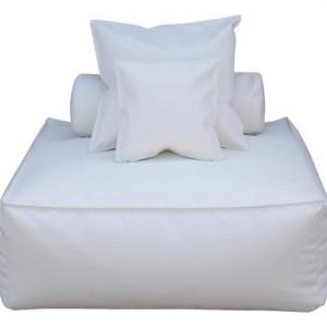 Canapea Panama, piele ecologoca, alb, 110 x 110 x 90 cm