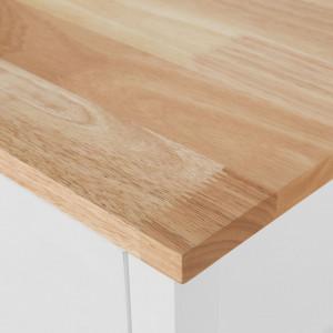 Carucior de bucatarie NAVARINO, MDF/lemn de pin, alb/maro, 91 x 120 x 48 cm
