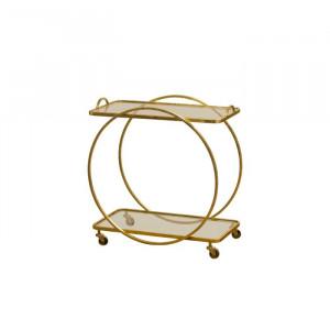 Cărucior de servire Richland, metal/sticla, auriu, 75 x 70 x 38 cm