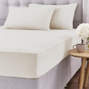 Cearșaf de pat și 2 fețe de pernă, crem, 135 x 190cm