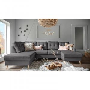 Coltar extensibil Lorraine, textil, gri inchis, 90 x 290 x 198 cm
