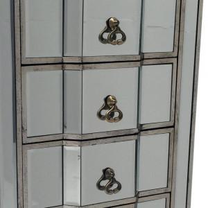 Comoda Broussard, lemn, argintie, 115 x 48 x 36 cm
