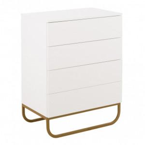 Comoda Sanford, MDF/ metal, alb/ auriu, 80 x 106 x 48 cm