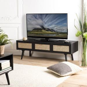 """Comoda TV 50 """" Chattooga, negru, 120 x 40 cm"""