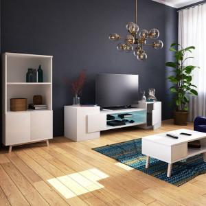 Comoda TV Gaelin, alba, 160 x 50,5 x 38,2 cm