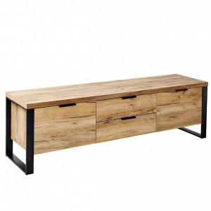 Comoda TV Movian, maro efect stejar/neagra, 152 x 45 x 39 cm