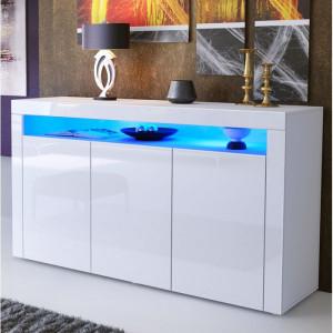 Comoda Valencia, 3 usi, 92x155x40 cm, alb mat/alb lucios
