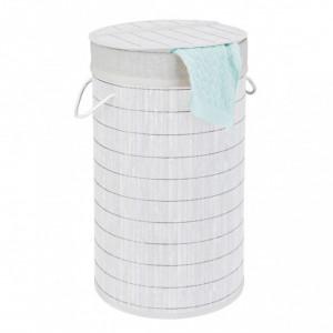 Cos de rufe Bamboo I bambus/material textil, alb, 35 x 60 x 35 cm