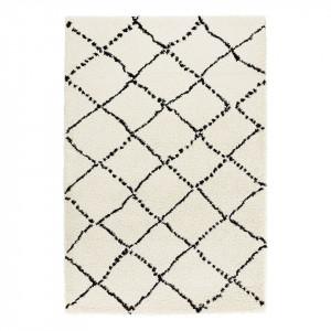 Covor Hash, fibre sintetice, crem/negru, 120 x 170 cm