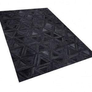 Covor KASAR, piele, negru, 140 x 200 cm