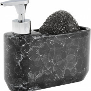 Dispenser de sapun cu burete, negru marmorat, 19 x 16 x 7 cm