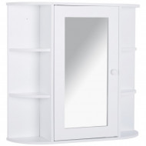 Dulap de baie cu oglinda Antaniyah, alb, 63 x 66 x 17 cm