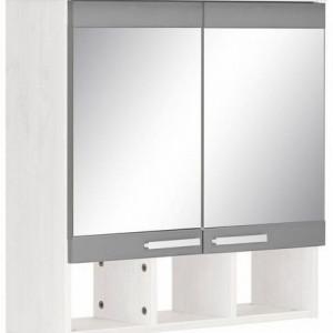 Dulap de baie Home Affaire cu oglinda, lemn, alb/gri