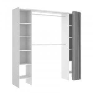 Dulap pentru imbracaminte Kora, alb, 203 x 50 x 180/110 cm